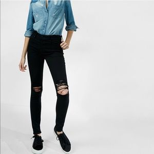 Express high waisted distressed jeans